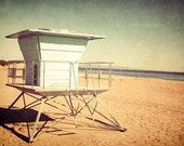 "Beach Photo. ""Off Season"". 8.5x11inch Photo. Lifeguard tower. Blue. Tan. Warm. Ocean. Sand. Vintage. Texture. Surfer. Santa Cruz. California"