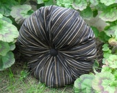 Brown Striped Velvet Round Pillow 16""