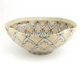 Ceramic Serving Bowl - Salad Bowl with Navy, Salmon and Turquoise Pattern - dawndishawceramics