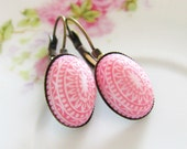 Vintage Watermelon Pink and White Mosaic Bohemian Antique Brass Earring Drop Dangles