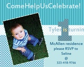 Printable Birthday Invitation Blue Stripes- Boy