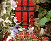 Fairy Door , Tudor style Gaelishian Door - Red and Black - Die Stone Cast. (FRB) - FairybehindtheDoor