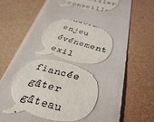 French speech bubbles stickers made from vintage textbooks - 10 self-adhesive stickers, french wedding affair