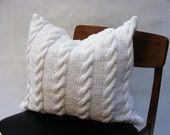 NEW Hand Knit Cushion 50 x 50 cm - White Cable Knit NEW