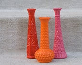 Painted Vases - Hot Colors - Set of 3 - Spring - Summer