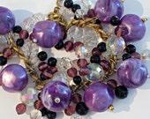 Vintage Purple Lucite Charm Bracelet - VintageObjectsShoppe