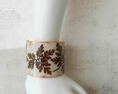 Deocupage Bracelet Cuff Pressed Leaves Autumn Brown and Copper Nature Jewelry - AlbinaRose