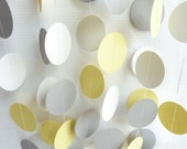 Yellow, Gray & White Circle Garland, Wedding, Birthday, Mothers Day, Baby, 10 feet long - FabulouslyHomemade