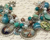 Vintage Mermaids Charm Bracelet Beaded Chunky Altered Art Picture Charms Beads Ocean Beach Sea - baublesbeadsncharms