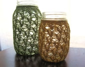 Mason Jar Wedding Centerpieces - Lace Knit - Recycled Cotton - Set of 2 - Seagrass Green & Sunshine Yellow - meganEsass