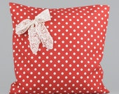 RED dotted cotton pillow case. With lace. White dotted. FUNNY pillow case. Holiday. - laceonpillow