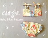 NEW Gidget Retro Baby Bikini Swimsuit PDF Pattern Tutorial Bathing Suit for Infant, Baby, Toddler