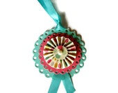 Rosette Gift Tags/ Set of Three/ Holiday Easter Paper Rosette Ornaments/ Spring Fling