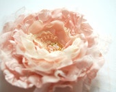 Pale pink ivory taffeta romantic rose-Handmade flower-Bride,bridesmaid-Brooch,comb,hair clip,flower for sash.