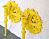 Sunny Yellow Ornate Candle Sconces..Upcycled Painted Vintage Homco Candleholders...Modern Traditional - BeautiSHE