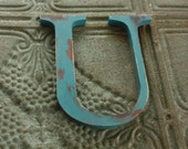 Wooden letter 'U' six inch painted Blue and Brown distressed
