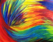 SALE - Original RAINBOW Acrylic Painting Abstract 16 x 20 Canvas FREE Shipping Beautiful Summer Waves Technicolour Neon Modern Art Stunning - EbiEmporium