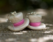 Super Mini White and Pink Top Hat Earrings