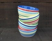 Set of 4 Colorful Rainbow and White Stripes Pinch Pots, Condiment or Prep Bowls - InAGlaze