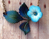 Bellflower Necklace Teal Blue Spring Flower and Leaves Polymer Clay Flowers and Hand Patinaed Brass Stem Gift for Mom Gift Box