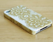 Golden lace pattern iPhone 4 case / Vintage gold lace iphone 4s case/ iPhone 4s / Decoupage iphone case - WrapAll