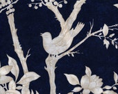 "108"" Quiltbacking, Navy Blue Fabric, Bird Fabric, Navy Blue and White Fabric, Floral Fabric, 1 yard fabric - thebusybeequilting"