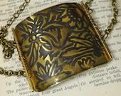 Dragonfly Half Cuff Bracelet Embossed Brass