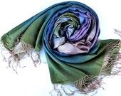 100% Silk Turqoise-Pink Stripes Scarf Traditional Textiled - atohumcu