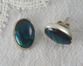 Sterling silver post earrings with Paua shell, summer jewelry - elledesigner