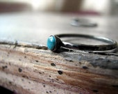 Sterling Silver & Arizona Turquoise Cabochon Stacking Tiny Ring-Custom Order