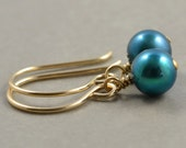 Freshwater Pearl Gold Earrings, Mothers Day, Everyday,Teal