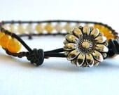 Summer Blonde Yellow Beaded Leather Wrap Bracelet - GloryGift