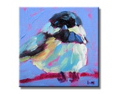 Chickadee - Original Mini Painting With Display Easel