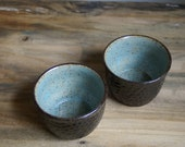 2 rustic brown prep bowls handmade ready to ship - CurlyGirlieDesigns