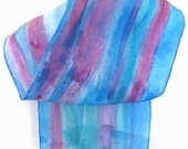 Raspberry blue abstract striped silk scarf - SilkDesignByJane