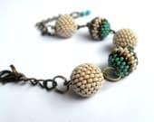Beaded beads bracelet, beige and bronze beads bracelet, tqb bracelet, balls bracelet - Caliopescaprice