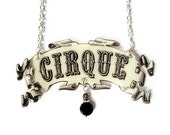 Circus Cirque Necklace Banner Beige Black Handmade by TheSpangledMaker - TheSpangledMaker