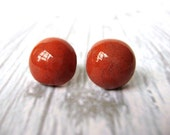Large Modern Ceramic Jewelry Rich Rusty Red Round Ceramic Earrings, Stud Earrings - stuckinthemudpottery