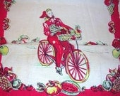 "Very Vintage Red Towel Girl Riding Bike with Basket of Fruit 16"" X 26"" - linenslaceandlattes"