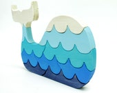 Blue Painted Whale Wood Puzzle with Waves - berkshirebowls