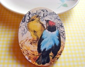 Large Oval Wood Pin Brooch - Yellow and Blue Birds in the Nest - Decoupage Collage Victorian Nature - mimiandlucy