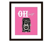 Retro art-vintage camera print-typographic art poster 8x10 - funny quote art - oh snap - etchedandsketched