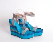WEDGES - Wrapped leather platform, in blue and grey - made to order - NorTin