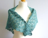 crochet shawl eco friendly wrap triangle scarf recycled silk cotton viscose yarn in teal sea green jade summer wear - OriginalCloth