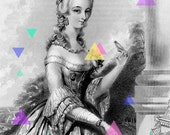 French Woman - 8x10 Re-purposed Art - Marie Antoinette, Triangles, Shapes, Neon, Colors, Black and White, Vintage, Old Fashion, Costume - bonjourfrenchie