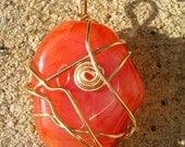Free Form Wire Wrapped Carnelian Pendant