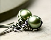 Sage Spring Green Freshwater Pearls Wire Wrapped Earrings on Oxidized Sterling Silver - PoppyLayne