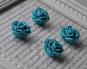 Lot of 4 Teal Rosettes - rose, flower - turquoise blue - rick rack - small - for earrings, rings, jewelry, embellishment
