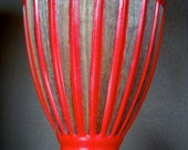 Upcycled Vintage Ceramic Lamp - Tornado Red with Walnut Veneer