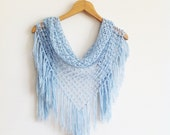 Crochet Scarf / Blue Shawl / Turkish Pashmina / Blue Scarf - AnatolianAccessories